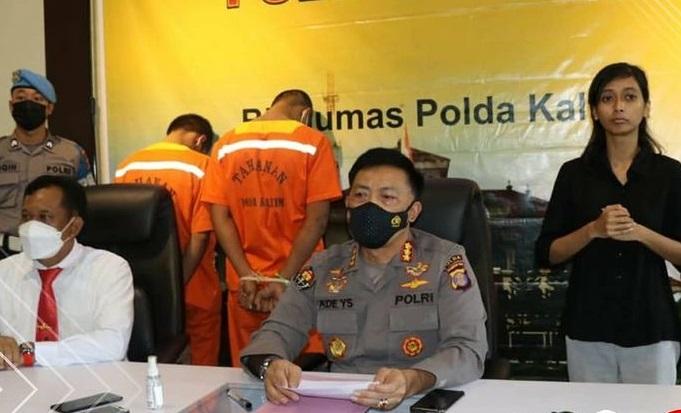 Polda Kaltim konferensi pers pengungkapkan kasus prostitusi online yang melibatkan anak di bawah umur. (Humas Polda Kaltim)