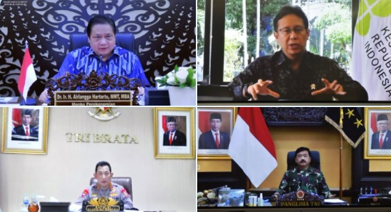 Rapat kabinet diikuti Menko Airlangga Hartarto, Menkes, Kapolri dan Panglima TNI. (Setkab)